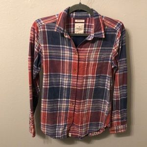 "American Eagle Plaid ""Boyfriend Fit"" Button Up"
